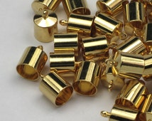 8mm Barrel End Caps Gold Plated Kumihimo Clasps 4 Or More Barrel Style Bright Gold Plated Leather Cord Ends Glue In End Caps Thick Cord Caps