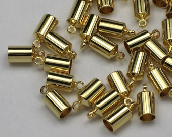 Gold 4mm End Caps, 10+ Plated Brass Kumihimo Cord Ends, Barrel Shaped, Glue In Style End Caps for Leather And Woven Cords
