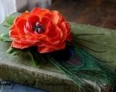 Simple Orange Poppy - Tribal Belly Dance Hair Art Fascinator Clip