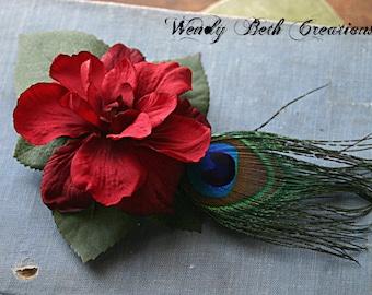 Simple Deep Red Gardenia - Tribal Belly Dance Hair Art Fascinator Clip