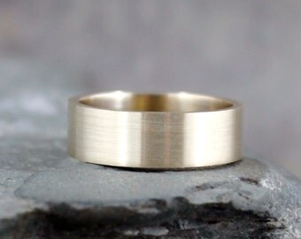 Wedding Band - 14K Yellow Gold - 6mm Wide - Men's Wedding Bands - Matte Finish or Polished Finish - Ladies Wedding Band - Commitment Ring