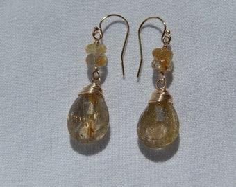 Stunning Golden Rutilated Quartz and Vermeil Earrings