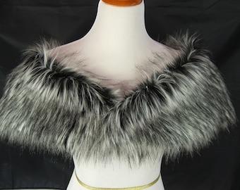 Faux Fur Shrug, Black/Gray Siberian Husky Faux Fur Shawl, Fur Stole, Wedding Shoulder Wrap