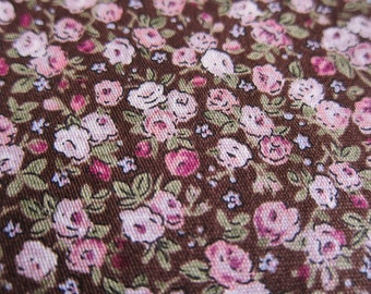 FREE SHIPPING Japanese Cotton Fabric - Pink Roses Fabric in Brown (F063) Fat Quarter
