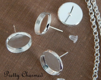 20 Pairs of Silver Earring Bezels Blanks 12mm Round
