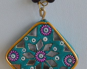 Pretty Vintage Teal Black Mosaic Indian Necklace, New Old Stock