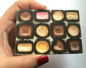 Original Mini Box of Chocolates Pocket Art Oil Painting 2.5 x 3.5