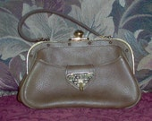 Vintage 1950s  Roger Van S. Leather Satchel/ Purse/Handbag /Olive Green