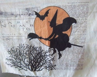 Witch fabric Halloween quilting cotton fabric panel grungy witch patch spooky quilt panel quilt patches art journal fabric primitive decor