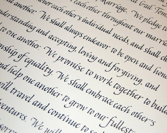 Text Block Ketubah - with oak leaves and acorns illustration - calligraphy