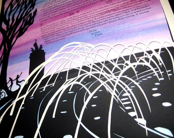Columbus Circle Papercut Ketubah