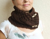 Bitter Chocolate Brown Chunky Knit Cable Cowl Neck Scarf With Buttons