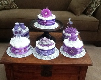 Pink and Purple Bundt Baby Shower Centerpieces Diaper cakes bundt cakes other toppers sizes and colors too