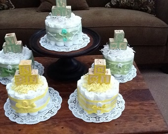 Yellow and Green Diaper Cake baby shower centerpieces gender neutral other colors and sizes too