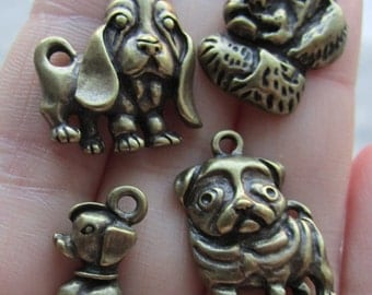 Charm, Antiqued Brass Single-Sided Assorted Dog