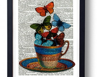 Original Art Print on A Vintage Dictionary Book Page / Tea / Teacup and Butterflys / Butterflies