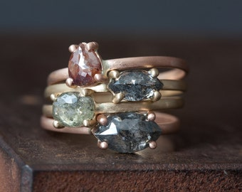 Custom Natural Rose Cut Diamond Rings