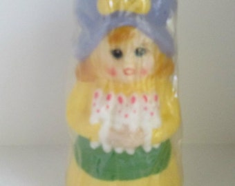 Vintage Figural Candle Little Girl Holding 2 Bunnies1981