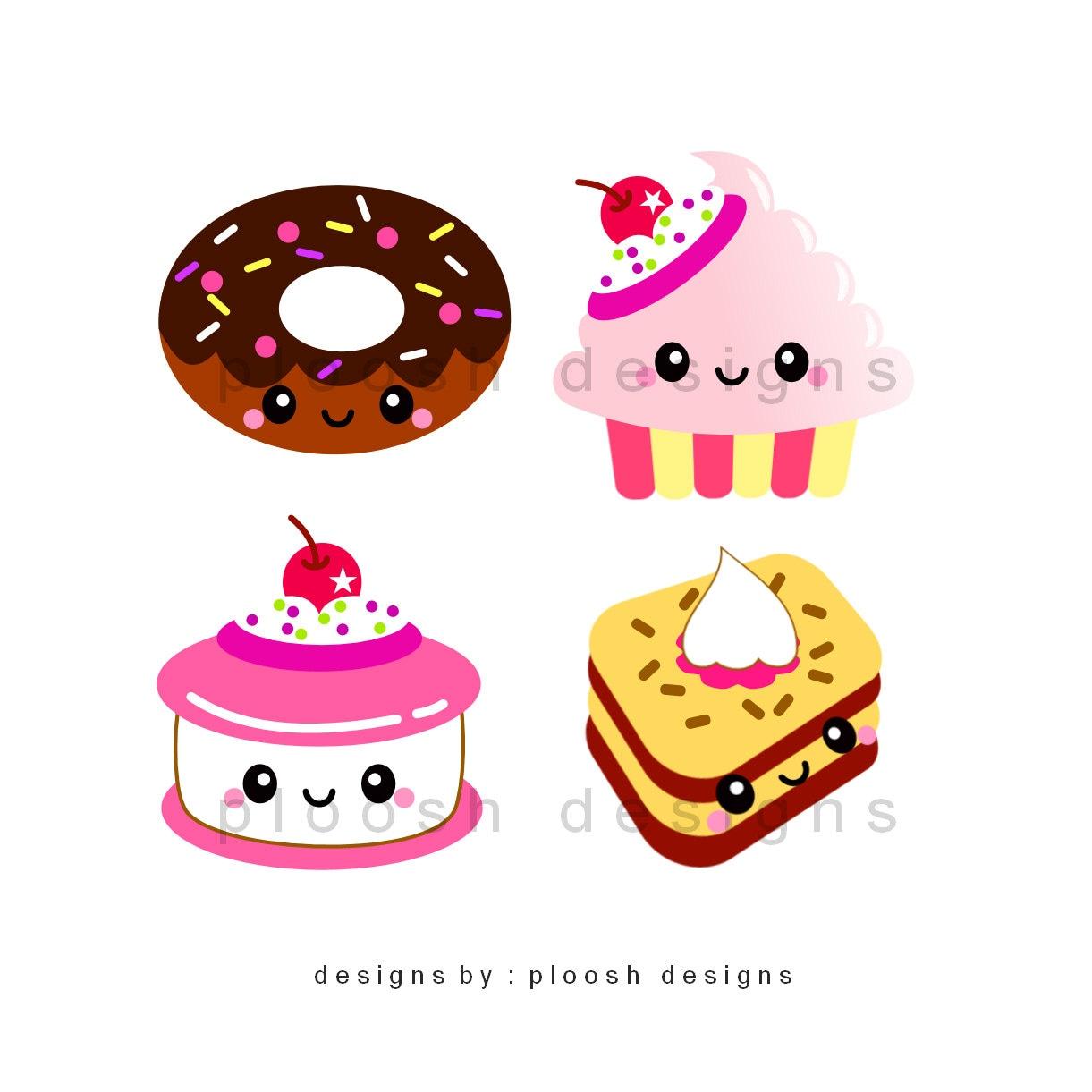 Stampe digitali di 4 dolci kawaii per biglietti tags for Immagini disegni kawaii