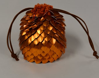 Scalemail Dice Bag of Holding in Knitted Dragonhide Armor Orange Extra Large