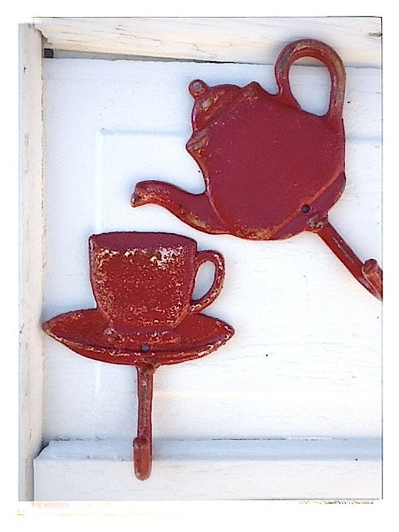 Items Similar To Wall Hook Teapot And Teacup Soft Aqua