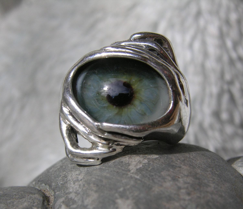 sz 5 sterling silver prosthetic eye ring