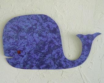 Whale art - Milo - upcycled metal wall sculpture nursery bathroom hand painted blue purple sealife fish 13 x 8