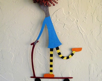 Metal Wall Sculpture Art - Scooter Girl Trudy - Recycled Metal Wall Decor Kids room Nursery Blue Red Head 11 x 19