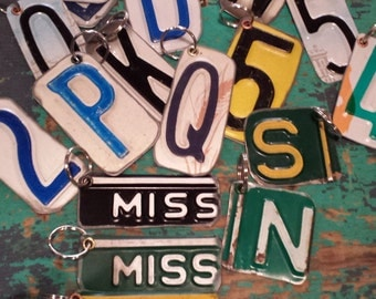 Recycled License plate keychain