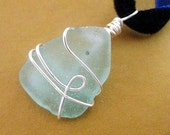 Irish Jewelry.  Blue Sea Glass Pendant.  Aqua Pool