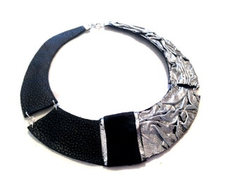 Silver color leather necklace Bib necklace Statement collar Leather jewelry