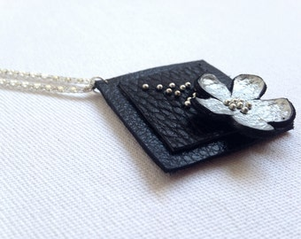 "Silver color floral leather pendant Statement necklace Flower Leather Jewelry ""Nature inspired"" collection"