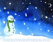 Snowman Naps Miniature Art ACEO Original Painting by Vermont Artist Cathy Stevens Pratt hand painted Vermont Landscape