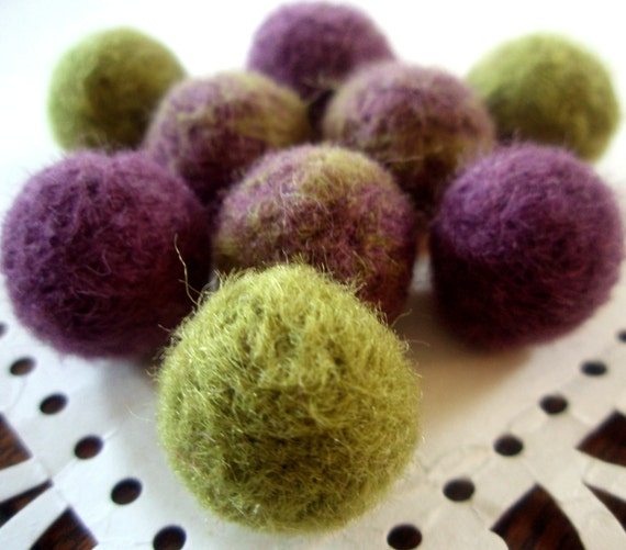 Needle Felted Balls - Grapes Mix - Wool Felt Beads - Handmade Green and Purple Woolen Balls - Fuzzy Solid and Marbled Ball Bead Mix