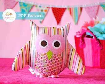 Stuffed Owl Pdf Sewing Pattern. Owl Soft Toy, Cushion, Pillow, Plushie, Nursery Bedding Home Decor, Diy, Instant Download
