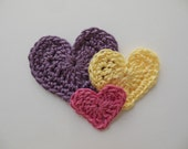 Trio of Crocheted Hearts - Pink, Yellow and Plum - Cotton - Crocheted Appliques - Crocheted Embellishments