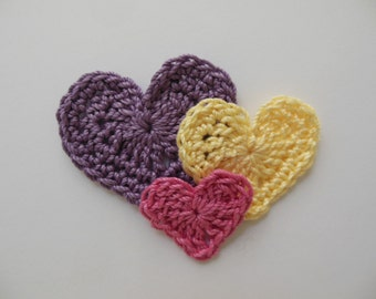 Trio of Crocheted Hearts - Pink, Yellow and Plum - Cotton Hearts - Crocheted Heart Appliques - Crocheted Heart Embellishments