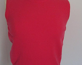 MACY'S Department Store - 1950's Pure 100% CASHMERE Mock Turtleneck Shell:  Red, Medium - perfect alone or for layering