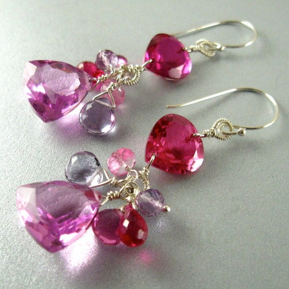 pink gemstone quartz pink topaz cluster wire wrapped