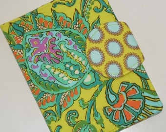 Lemon Paisley eReader Cover with back pocket  - Nook Tablet Cover, Nook Color Cover, Kindle Touch Cover back pocket included