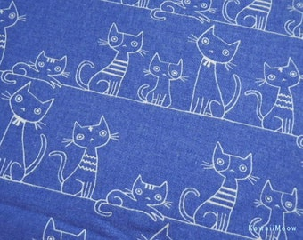 Kawaii Japanese Fabric - KOKKA Cotton/Linen Flannel Cat's Family on Blue - Half Yard (i130710)