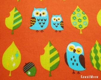 Kawaii Japanese Fabric - Leaves Owls on Orange - Fat Quarter (pu130820)