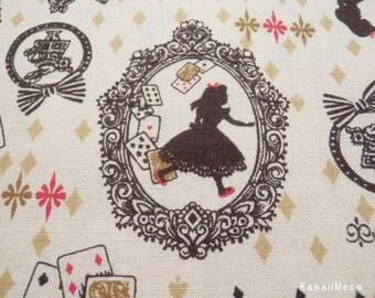 Kawaii Japanese Fabric - Silhouette Alice on Beige - Half Yard (su140224)