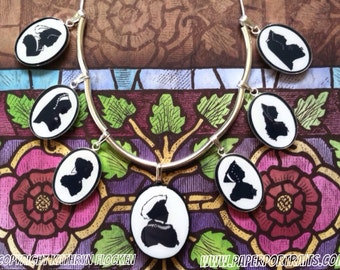 The Tudors. The Six Wives of King Henry VIII Silhouette Necklace.
