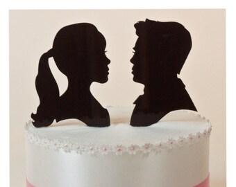 Wedding Cake Topper Custom Silhouette Couple, Lasered ACRYLIC
