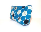 Cotton Zipper Pouch  Medium Pouch Cosmetic Bag Pencil Case - Blue, Grey and Black Hexagons - handjstarcreations