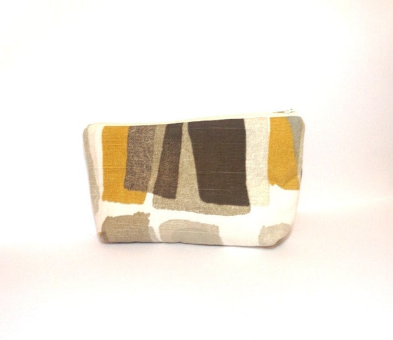 Medium Zipper Pouch Pencil Case Cosmetic Bag  Grey and Gold Shapes