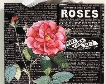 Shabby Cottage Vintage Newspaper and Roses Wooden Wall Plaque
