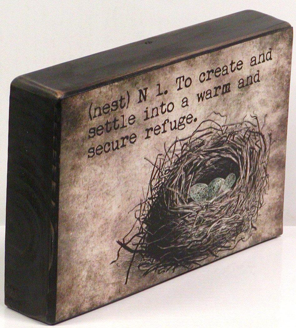 Bird Nest Definition of Nest Wooden Block by NikkisSecretCloset