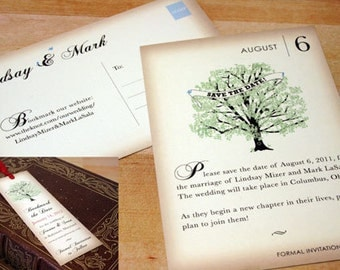 Vintage Book Save the Date Cards, Bookmark, Photo Magnet,Tree Wedding Invitations, Green, Brown, Paper Goods, Cards, Rustic, Literary, Nerd